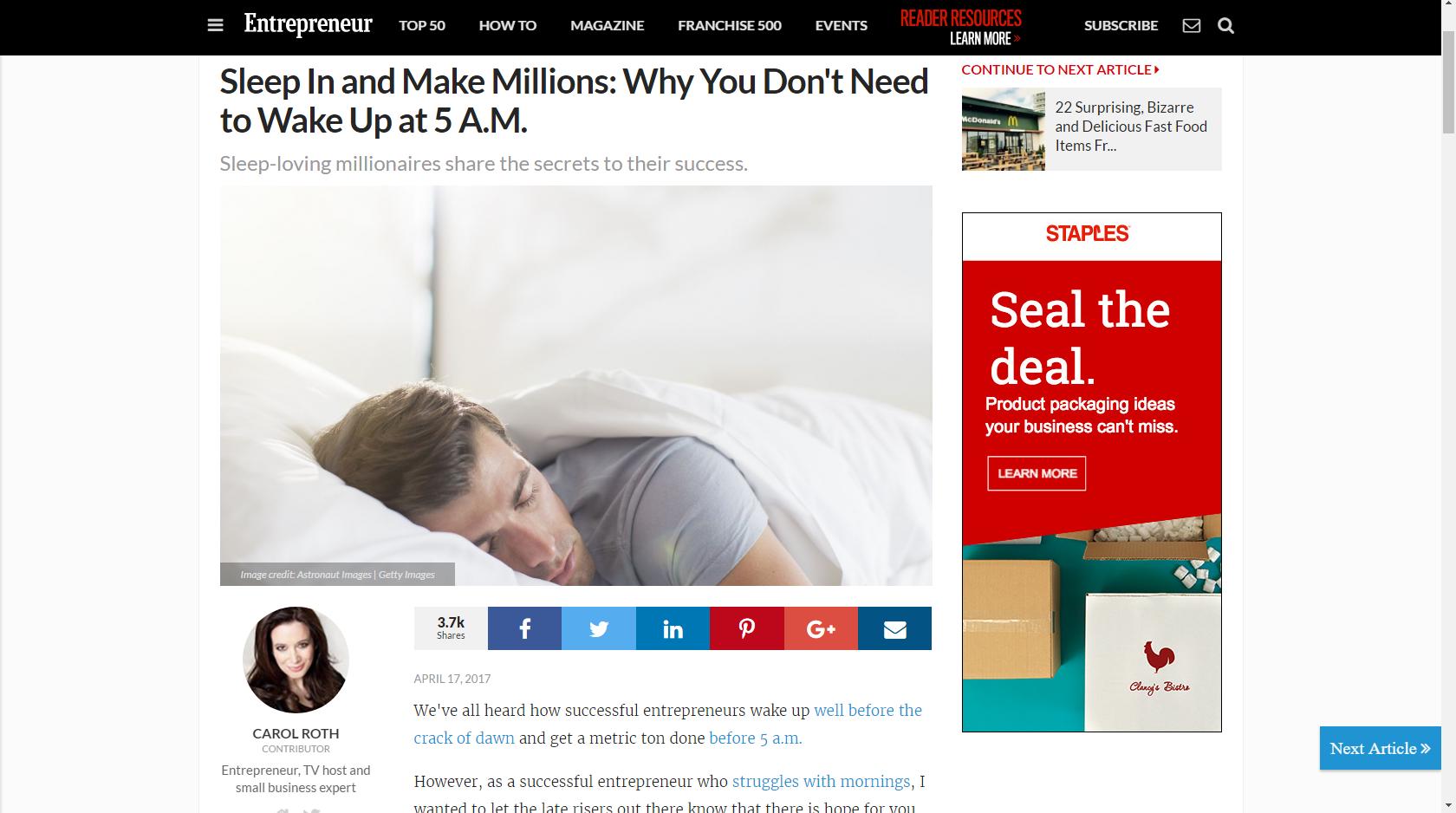 Entrepreneurs who sleep can still make millions!